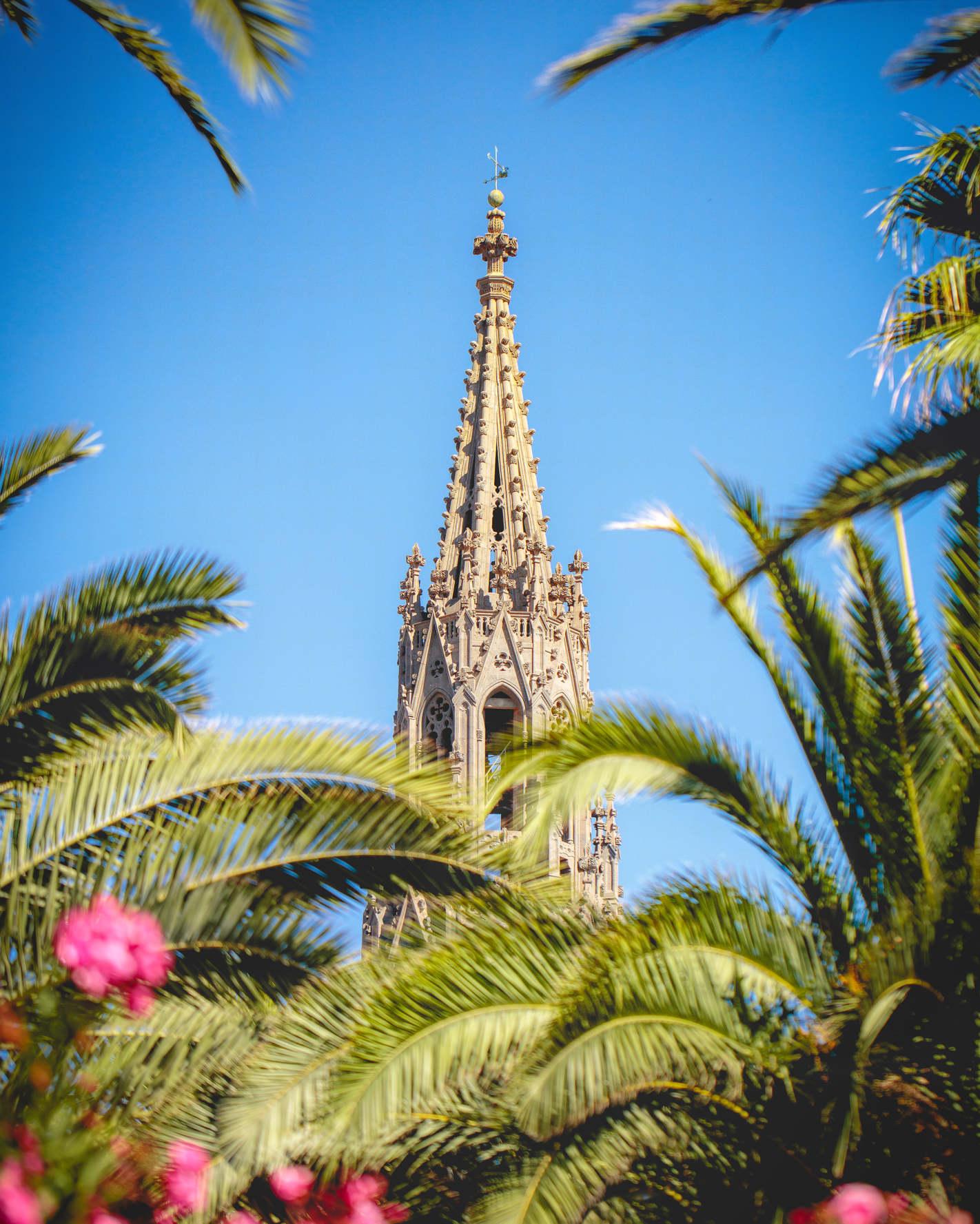 Turmspitze der Kathedrale von Arucas umringt von Palmen und Blüten