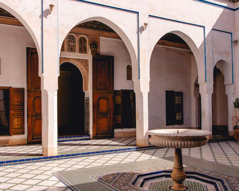Innenhof des Großwesir Palastes von Marrakesch El Baiha